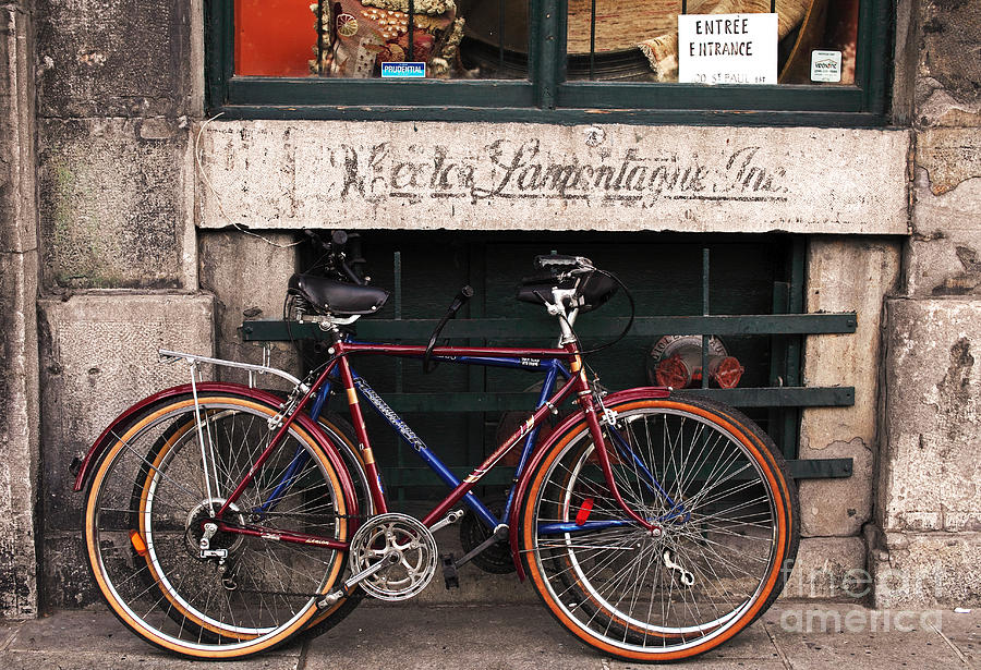 Montreal Photograph - Bikes In Old Montreal by John Rizzuto