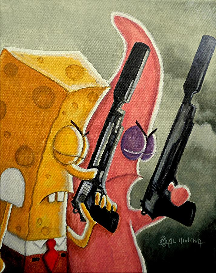 Spongebob Painting - Bikini Bottom Saints by Al  Molina