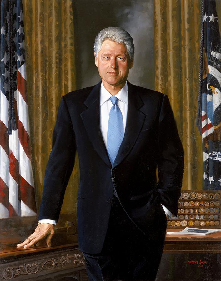 Bill Clinton Painting - Bill Clinton Portrait by Tilen Hrovatic