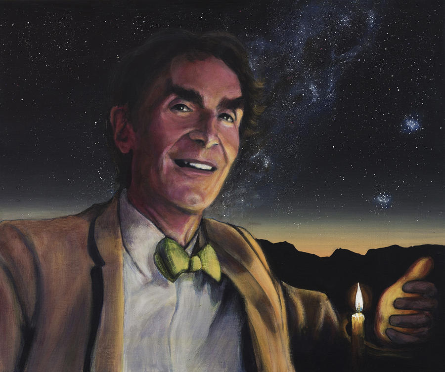 Bill Nye Painting - Bill Nye - A Candle In The Dark by Simon Kregar