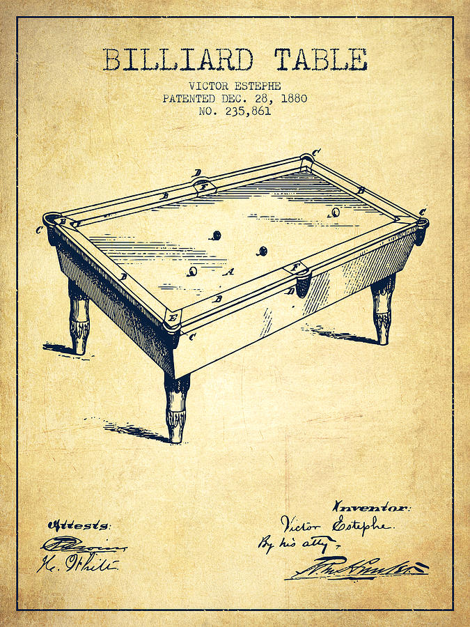 Billiard Table Patent From 1880 - Vintage Digital Art by Aged Pixel