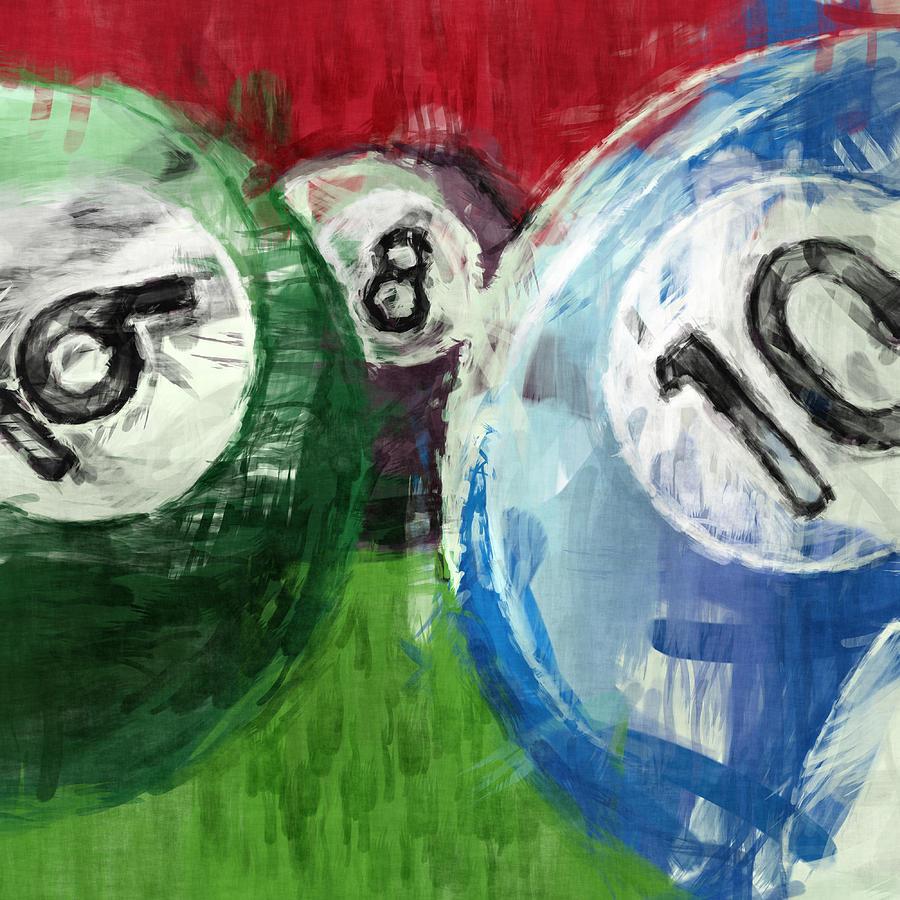 Billiards Digital Art - Billiards 6 8 10 by David G Paul