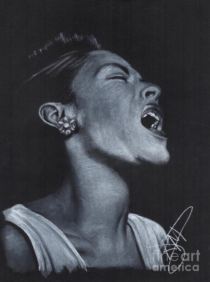 Billie Holiday Drawing - Billie Holiday by Rosalinda Markle