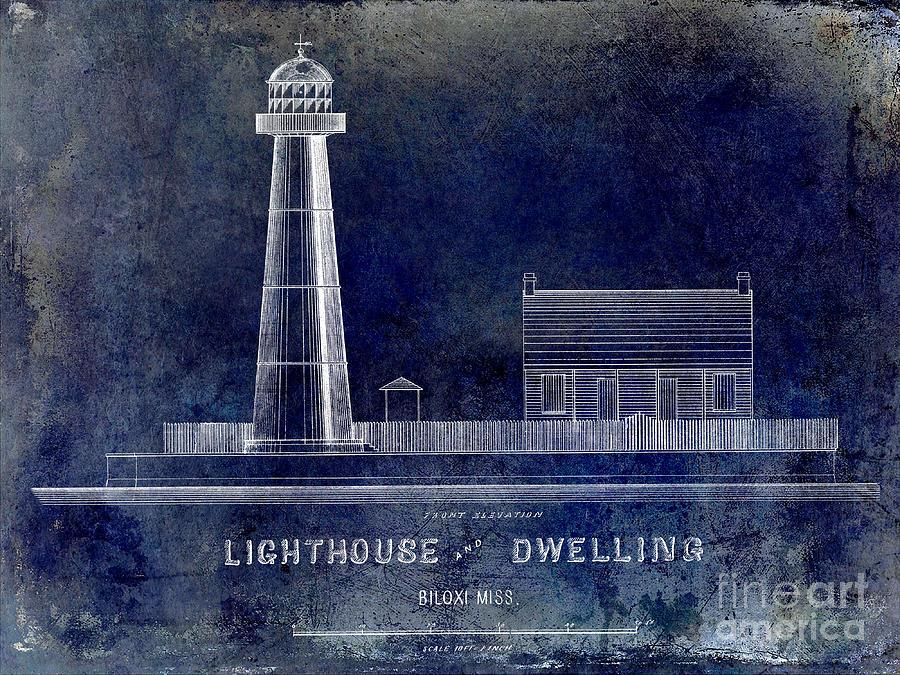 Biloxi Lighthouse Drawing Blue Drawing By Jon Neidert