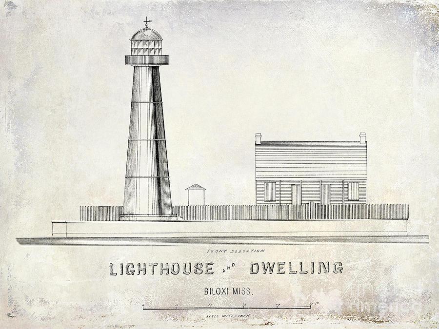 Biloxi Lighthouse Drawing Drawing By Jon Neidert
