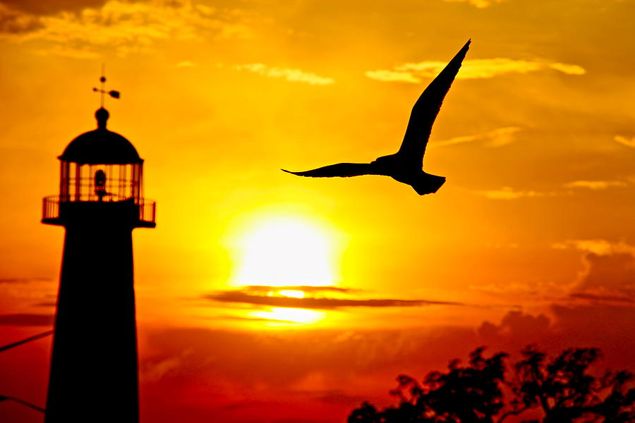 Biloxi Lighthouse Sunset Photograph By Jim Albritton