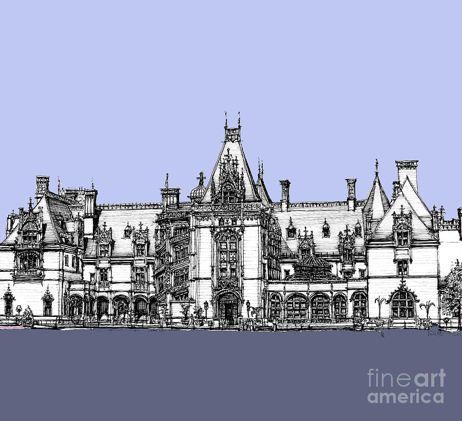 Lilac Drawing - Biltmore Estate In Blues by Adendorff Design