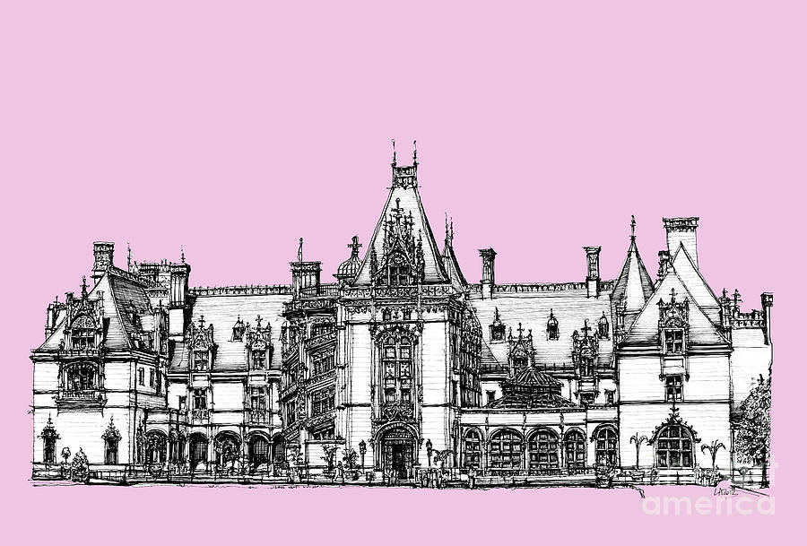 Biltmore Drawing - Biltmore Estate In Pink by Adendorff Design
