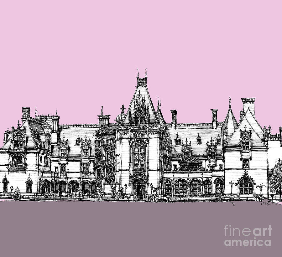 Pink Drawing - Biltmore Estate Pink And Lilac by Adendorff Design