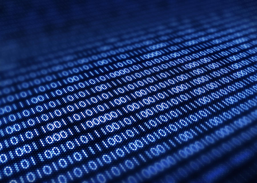 Blue Photograph - Binary Code On Pixellated Screen by Johan Swanepoel