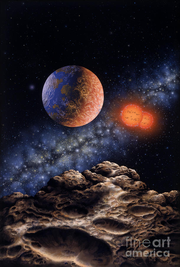 Lynette Cook Painting - Binary Red Dwarf Star System by Lynette Cook