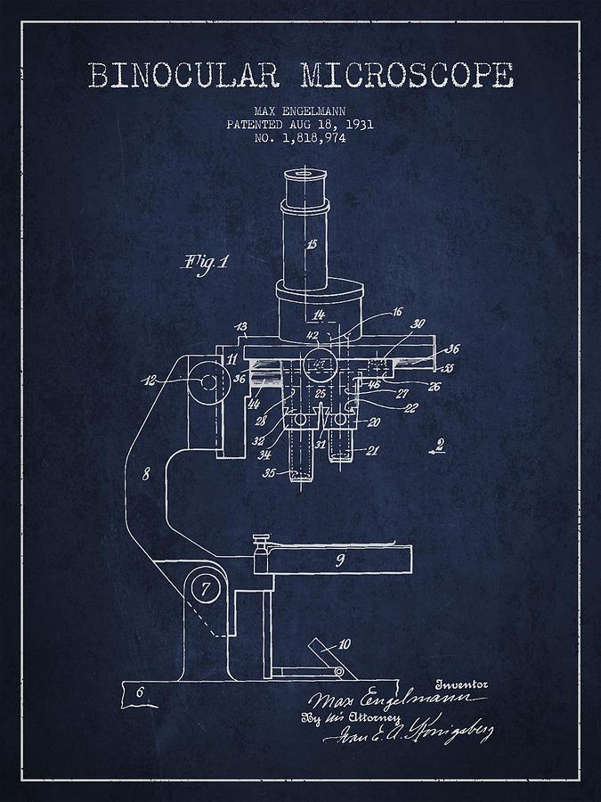 Microscope Digital Art - Binocular Microscope Patent Drawing From 1931 - Navy Blue by Aged Pixel