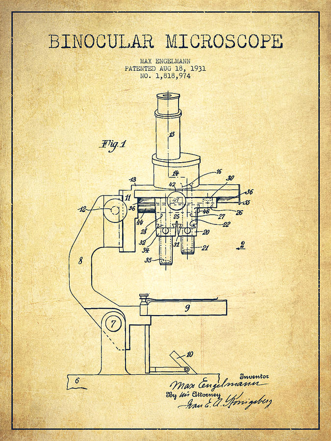 Microscope Digital Art - Binocular Microscope Patent Drawing From 1931-vintage by Aged Pixel