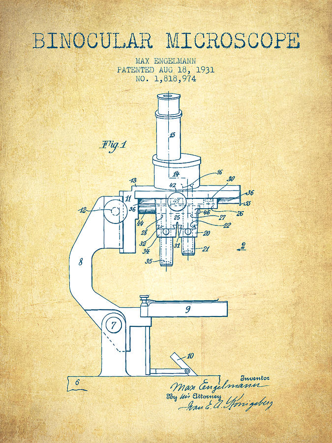 Microscope Digital Art - Binocular Microscope Patent Drawing From 1931 - Vintage Paper by Aged Pixel