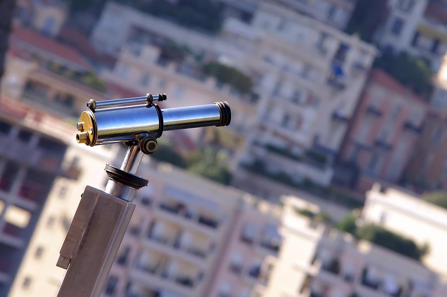 Azure Photograph - Binoculars View Of City by Ioan Panaite