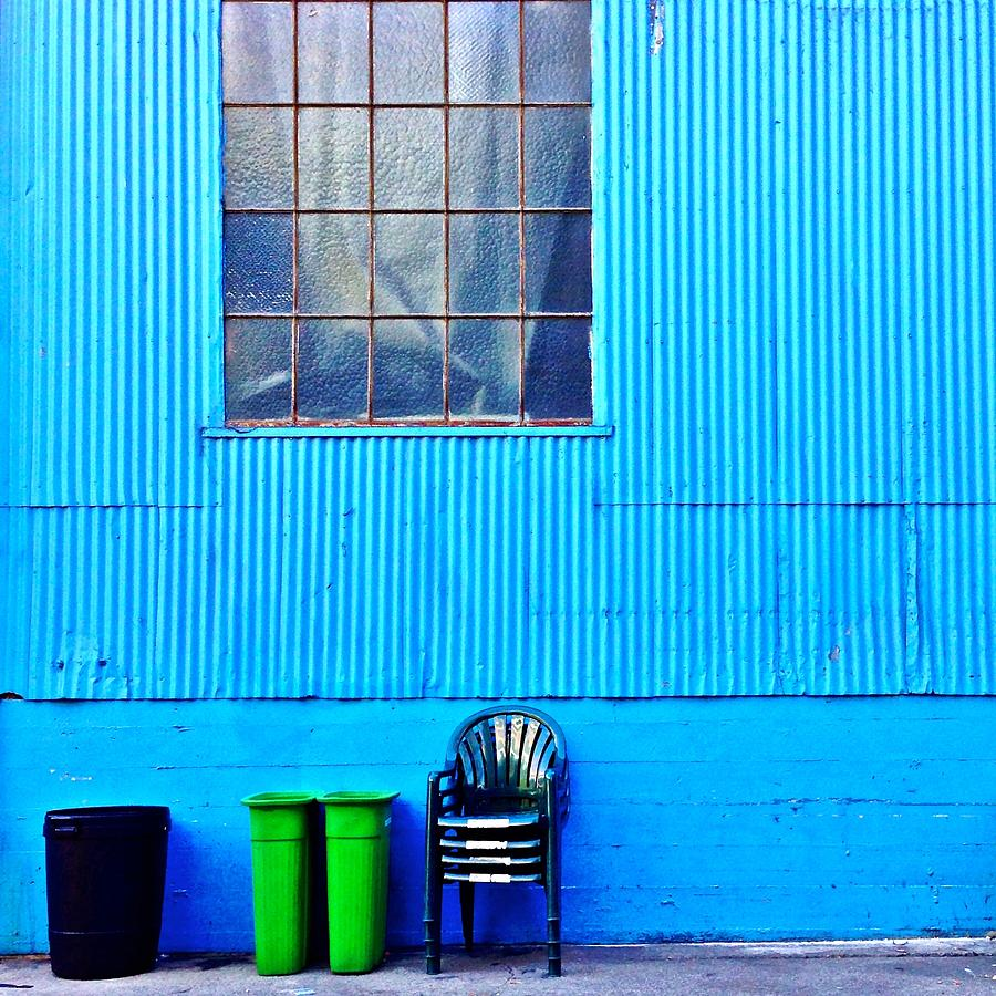 Window Photograph - Bins and Chairs by Julie Gebhardt