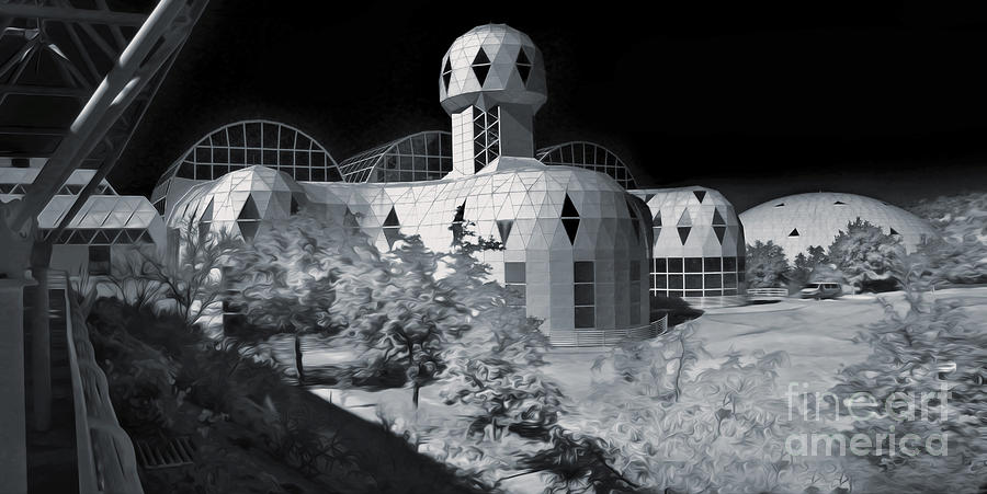 Biosphere2 Photograph - Biosphere2 - Black And White by Gregory Dyer