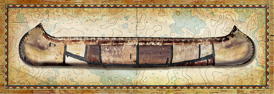 Birch Bark Canoe And Map