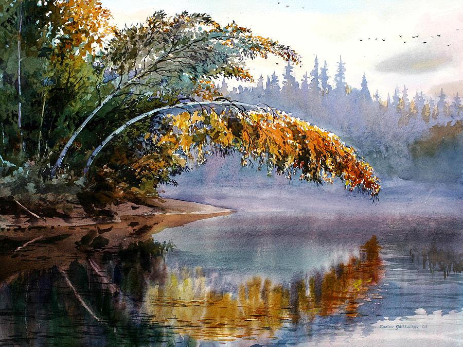 Landscape Painting - Birch Creek Beauty by Vladimir Zhikhartsev
