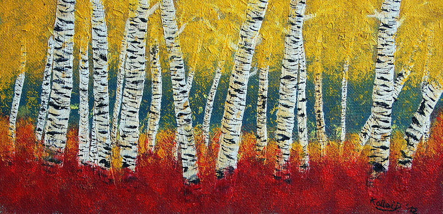 Woods Painting - Birch Fall by Peter Kallai
