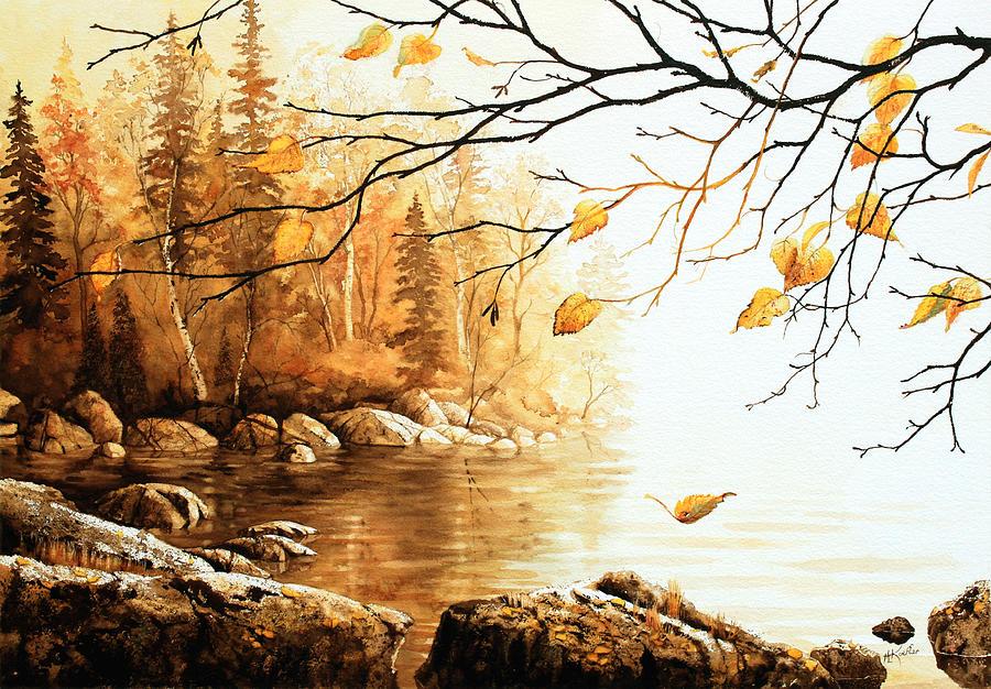 Birch Island Lake Painting - Birch Island Mist by Hanne Lore Koehler