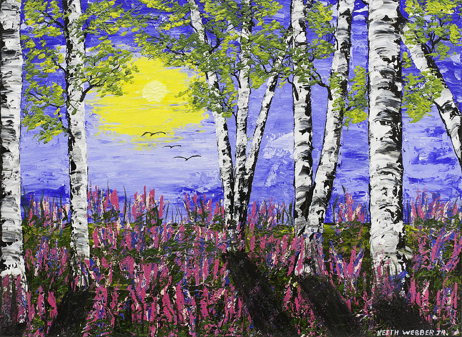 Birch Trees And Lupine Flowers Painting Painting By Keith Webber Jr