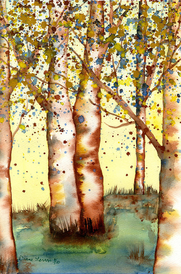 Birch Tree Painting - Birch Trees by Diane Ferron