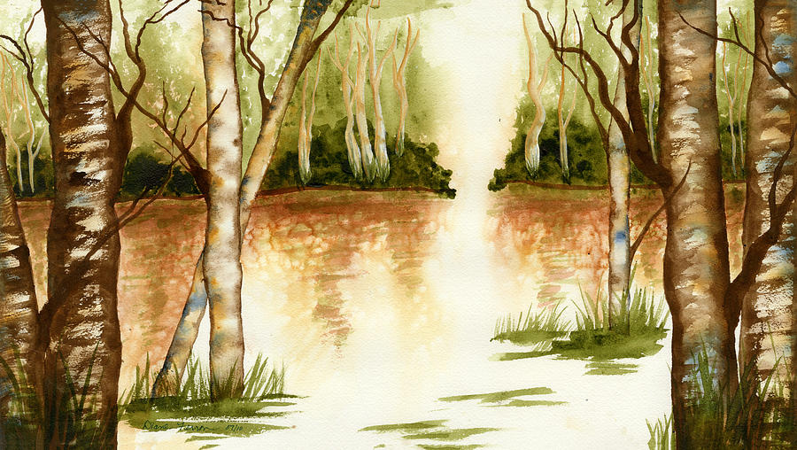 Birch Trees Painting - Birch Trees On The Lake by Diane Ferron