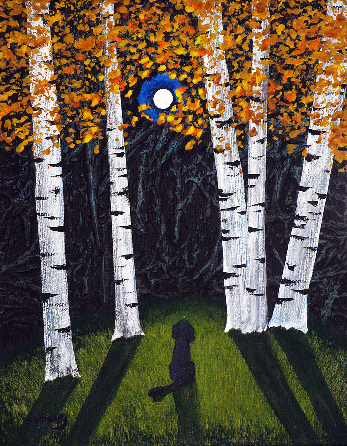 Black Painting - Birch Trees by Todd Young