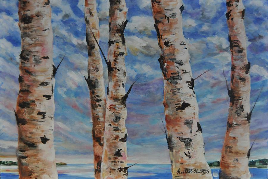 Landscape Painting - Birches By The Bay by Heather Kertzer