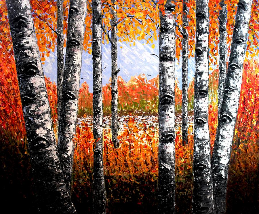 Birches Forest Palette Knife Painting Painting By Georgeta
