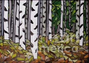 Stained Glass Painting - Birches II  - Sold by Chris Heisinger