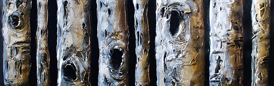 Tree Mixed Media - Birches In A Row by Lori McPhee