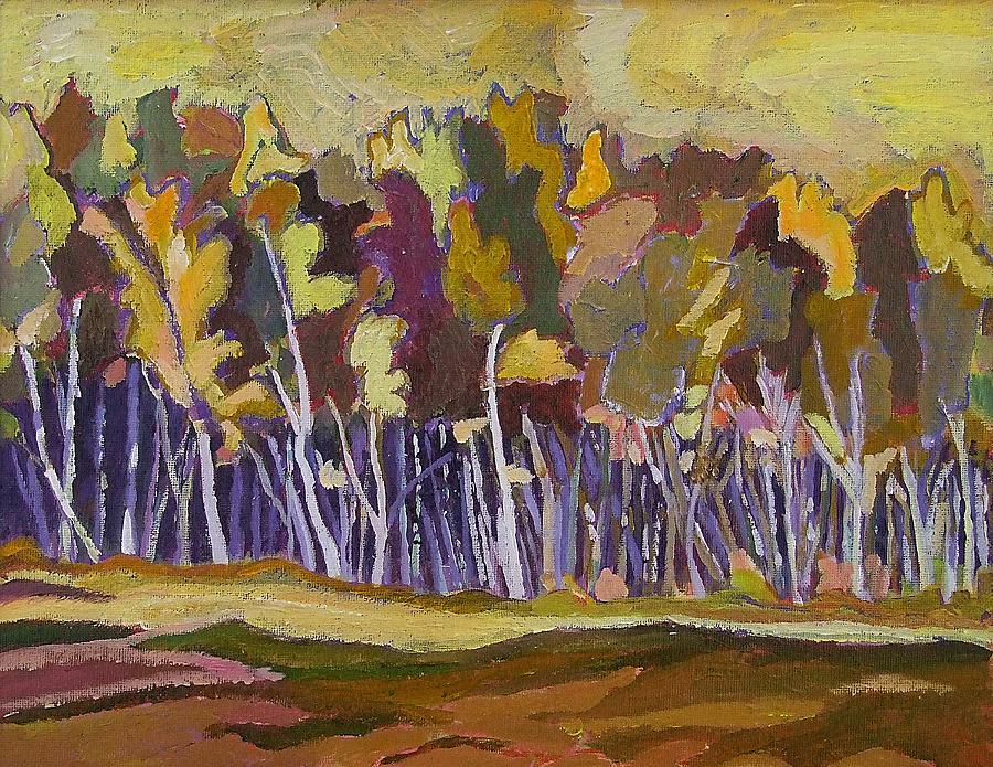 Cape Breton Island Mixed Media - Birches In Autumn by Janet Ashworth