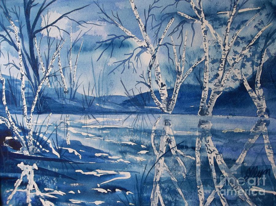 Birch Trees Painting - Birches In Blue by Ellen Levinson