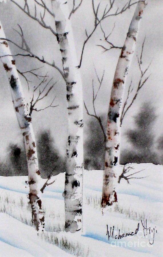 Background Painting - Birches by Mohamed Hirji