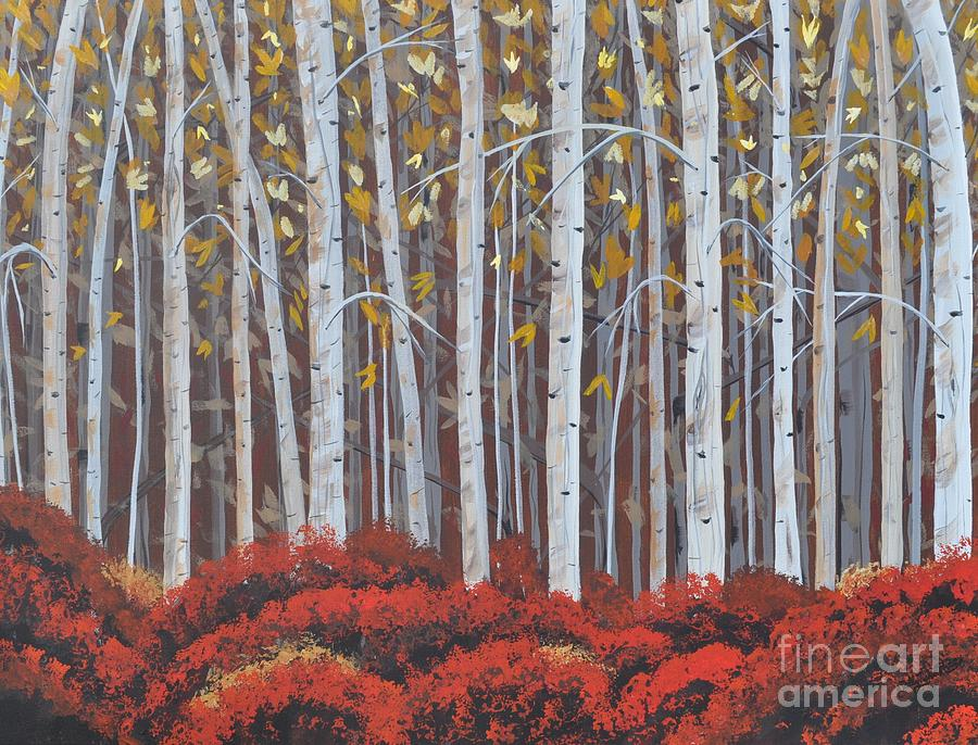 Berkshires Painting - Birches by Sally Rice