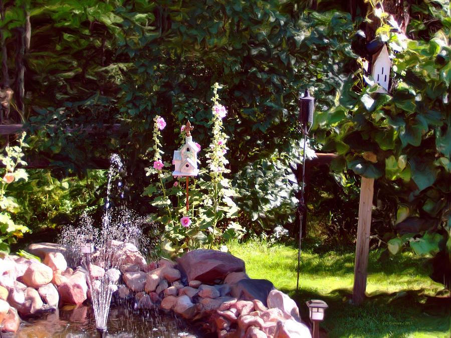 Garden Digital Art - Bird And Butterfly Paradise by Liz Evensen