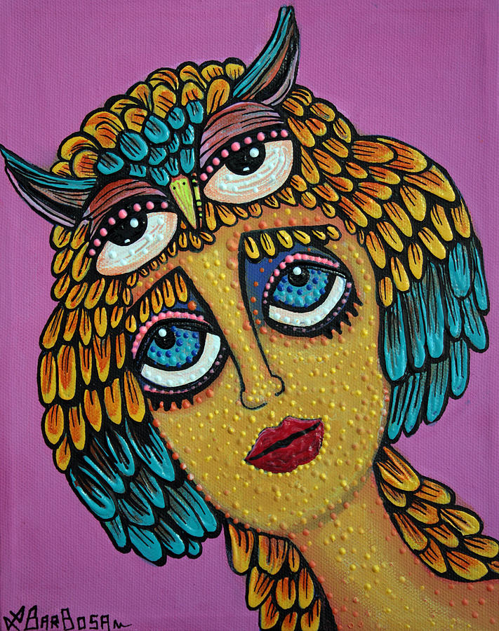 Owl Painting - Bird Brain by Laura Barbosa
