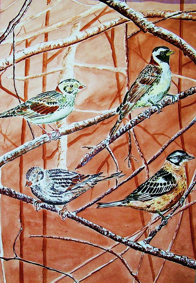 Bird Foursome Painting by Linda Vaughon