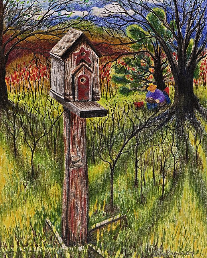 Bird House Drawing - Bird House by Joy Bradley