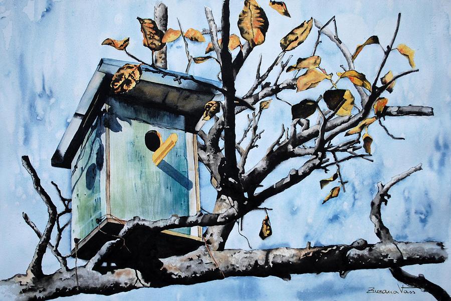 Watercolor Painting - Bird House by Zuzana Vass