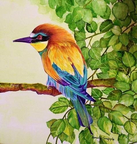 Bird Painting - Bird In A Bush by Sonali Sengupta
