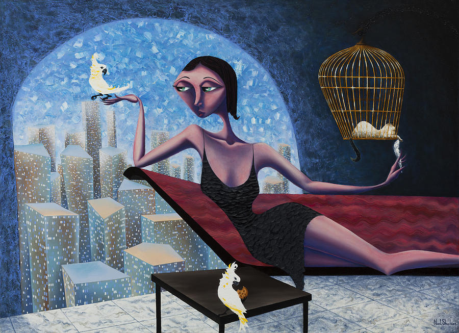 Woman Painting - Bird Lady by Ned Shuchter