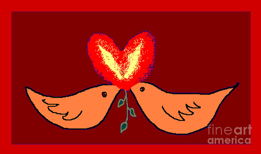 Valentine Card Digital Art - Bird Lamps by Meenal C