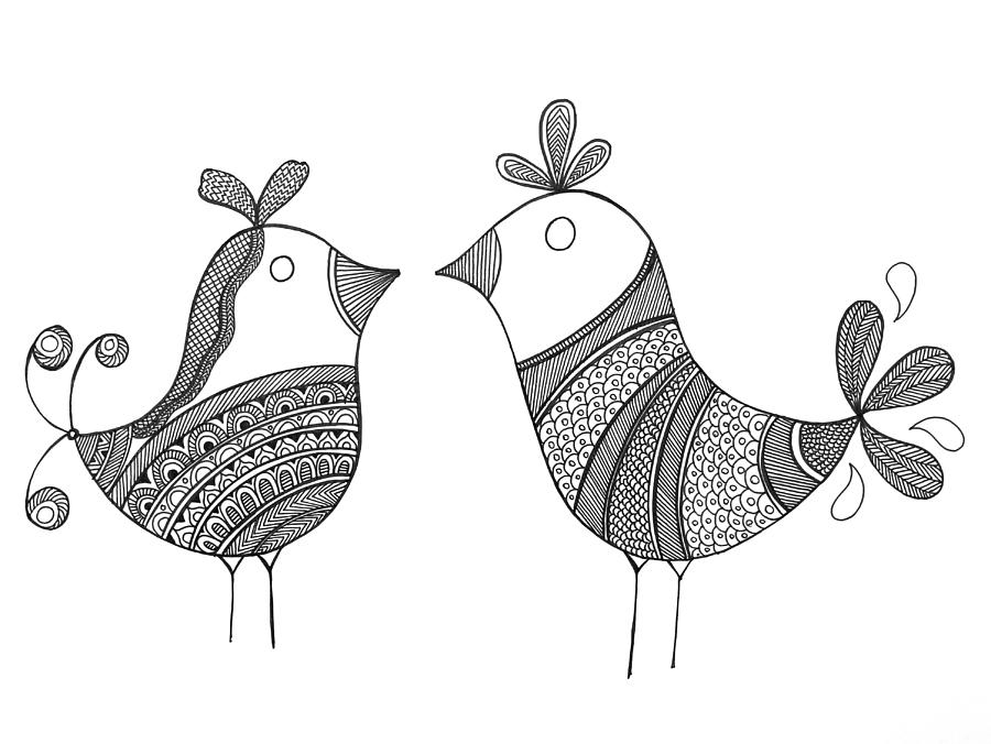 Bird Love Birds Drawing By Mgl Meiklejohn Graphics Licensing