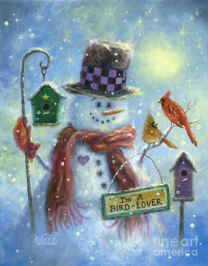 Snowman Painting - Bird Lover Snowman by Vickie Wade
