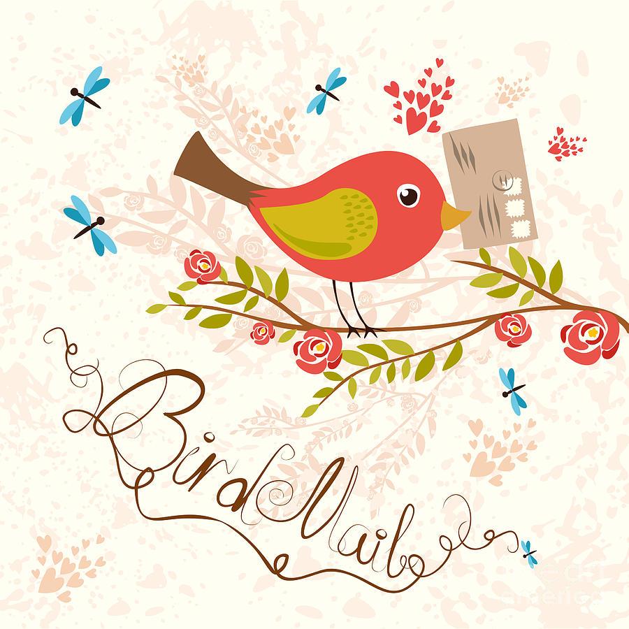 Snail Digital Art - Bird-mail Postcrossing Cheerful Cute by Lesyaskripak