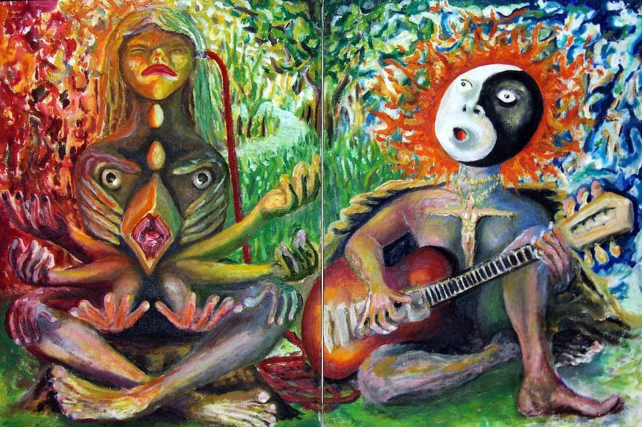 Bird Man Music And Yin Yang Man Painting