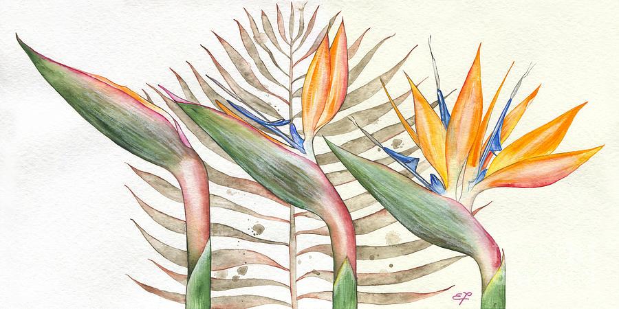 Strelitzia Painting - Bird Of Paradise 05 Elena Yakubovich by Elena Yakubovich